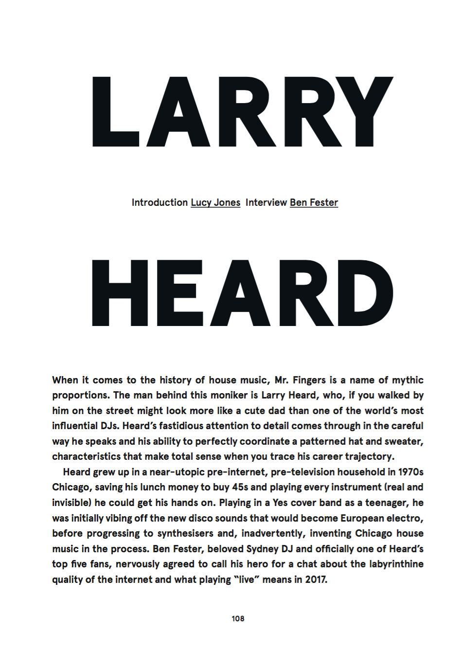 Larry Heard for Oyster Magazine